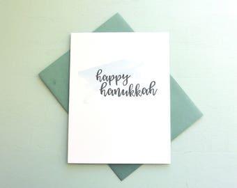 Letterpress and Watercolor Holiday Card - Happy Hanukkah Card - HOL-547