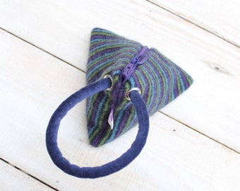 Triangle Pouch in Blues Greens and Purple