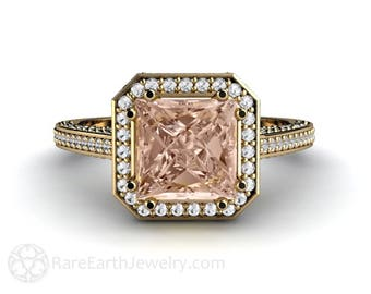 Princess Morganite Engagement Ring Cathedral Diamond Halo Morganite Ring Custom Wedding Ring 14K or 18K Gold