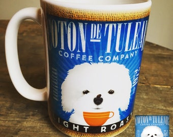 Coton de Tulear dog Coffee company graphic art MUG 15 oz ceramic coffee mug