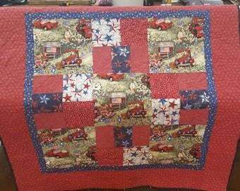"50"" X 50"" Patriotic  Baby/Toddler Handmade Quilt"
