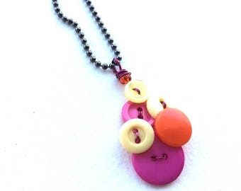 Christmas in July Sale Hot Colors Bright Pink, Orange, and Yellow Vintage Button Pendant Necklace