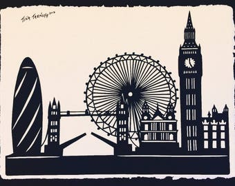 LONDON Papercut - Hand-Cut Silhouette