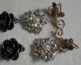 Lot of Three Clip Earrings Rhinestone Jewels