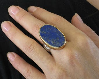 Lapis Ring,Gold Silver Ring,Ring Lapis Lazuli,Silver Gold Gemstone,Blue Ring,Large Blue Ring,Oval Ring,Large Oval Stone Ring,Gift for Her