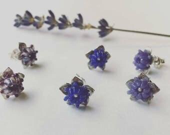Lavender Stud Earring Set, Sterling Silver, Glass Bead Flower Earrings, Botanical Purple Jewelry, Dainty Earrings, Lavender Glass, Lampwork