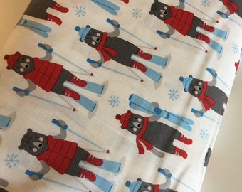 Polar Bear fabric, Ski fabric, Frosty Friends Christmas Fabric, Cotton fabric by the Yard, Polar Bears in White- Choose the cut