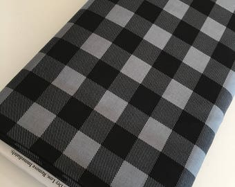 Buffalo Check fabric, Black Gray Plaid, Buffalo Check Party Decor, Quilting Sewing, 1 inch Buffalo Plaid in Turquoise, Choose the Cut