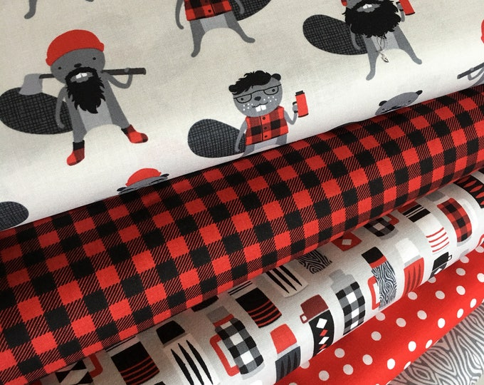 Burly Beavers Fabric Bundle of 5, Sewing fabric, Lumberjack, Thermos, Plaid, Robert Kaufman- Choose the cuts, Free Shipping Available