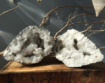 EARTHLY FIND...two sides make one-quartz crystal mystic woodland fairy zen home design- geode - fossil - display pieces
