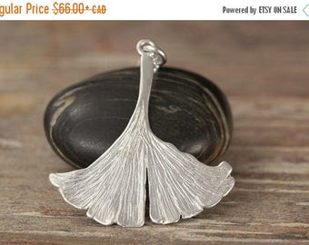 CLOSING SALE Ginkgo Biloba leaf pendant in Sterling silver