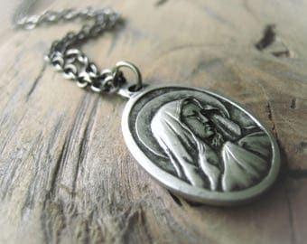 Our Lady of Lourdes Virgin Mary Bracelet Silver Pendant Necklace Religious Pendant  Charm Bracelet Item No. 8683