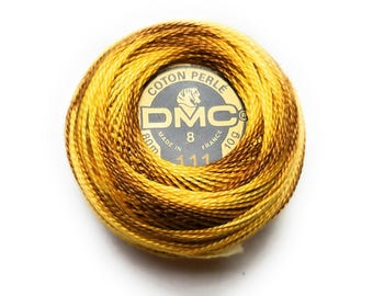 DMC 111- Variegated Mustard Yellow- Perle Cotton Thread Size 8