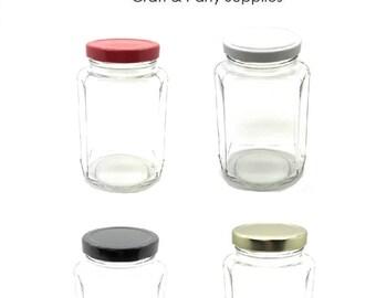 1 pc 12 oz Oval Hexagon Glass Jars