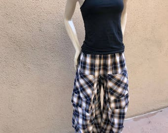 Lagenlook pant in Black and Tan plaid in 2 sizes
