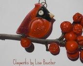Porcelain Petite Cardinal Pendant