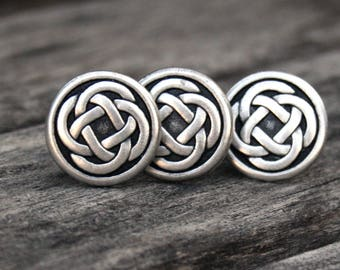 Cufflinks and Tie Tack Set - Silver Celtic Knot