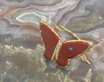 Dara Ettinger Red Jasper Butterfly Adjustable Stone Ring in 14kt Gold