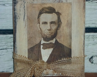 Primitive Colonial Farmhouse Abe Lincoln Print on Canvas