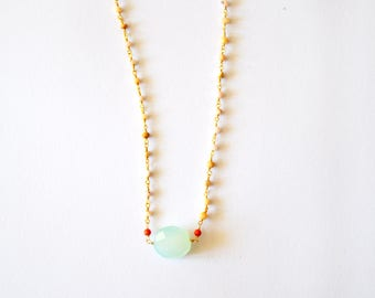Red Coral Sea Green Gold Necklace / 14k Gold Filled Wire Wrapped Necklace with Sea Foam Green Chalcedony Coral and Rose Quartz Gemstones