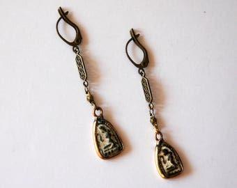 Egyptian Relic Brass Earrings / Antique Egyptian Earrings / Vintage Egyptian Earrings / Vintage Antique Egyptian Brass Carved Stone Earrings