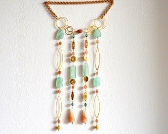 Small Beaded Curtain / Gold Wall Hanging Gemstones / Gemstone Wall Art / Beaded Dream Catcher / Bohemian Wall Art / Handmade Mixed Media