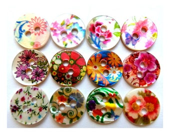 120 Shell buttons colorful floral ornament design 11.5mm