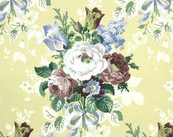 1950s Vintage Wallpaper by the Yard - Floral Wallpaper with White and Brown Cabbage Roses and Blue Flower Bouquets on Yellow