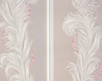 1940s Vintage Wallpaper by the Yard - Gray and White Feather Stripes with Pink Accent Ribbon