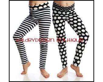 Halloween leggings baby leggings toddler leggings black white stripe leggings knit black dot leggings girl leggings