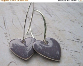 ON SALE Lavender Heart Earrings, Lilac Purple Heart Earrings, Enamel Heart Earrings, Sterling Silver Enamel Heart Earrings