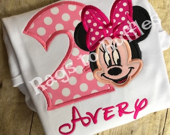 Minnie Birthday Shirt- Personalized Minnie 2nd Birthday Shirt - Personalized Mouse Birthday Shirt