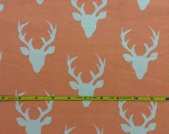 NEW Art Gallery Peach Bucks on cotton Lycra  knit fabric 1 yard.