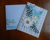 Handmade Birthday Card: christian, complete card, handmade, ooak, flowers, yellow, purple, greeting card,  dragonfly, balsampondsdesign