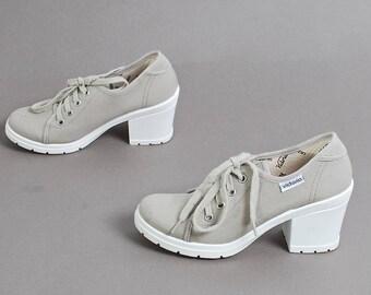 size 6.5 PLATFORM grey canvas 90s KEDS style lace up ankle boots