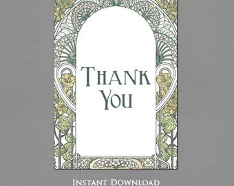 Printable Thank You Cards - Art Nouveau Garden Frame Design - Wedding Thank You - Bridal Shower Thank You - Instant Download