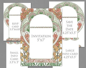 Wedding Invitation Template Graphics for Invite, RSVP, Save the Date, Info Cards - Gatsby Garden Fall Colors - Art Nouveau Frame Invite
