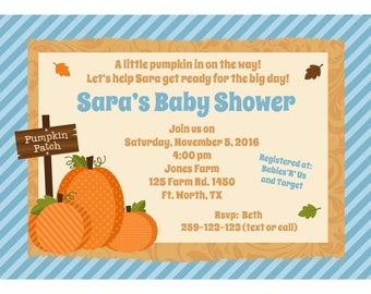 """20 Personalized Pumpkin Patch Baby Shower or Birthday  Invitations - 5x7"""" Size - Fall Party Invitations"""