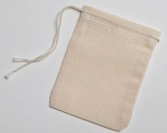 100 3x4 Natural Cotton Muslin Drawstring Bags