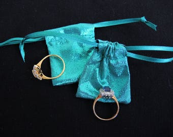NEW Tiny metallic teal blue-green lame pouch -fabric bag for rings, gifts, presentation, wedding- small but useful size- ready to ship
