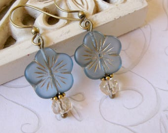 Blue flower earrings, vintage style, Czech glass beads, faceted glass beads, drop earrings