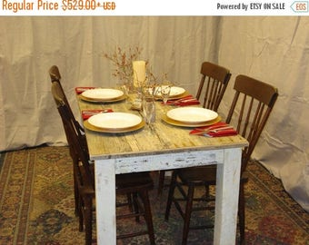 """ON SALE Driftwood Dining Table (54"""" x 30"""" x 29""""H) with Antique white distressed bottom."""