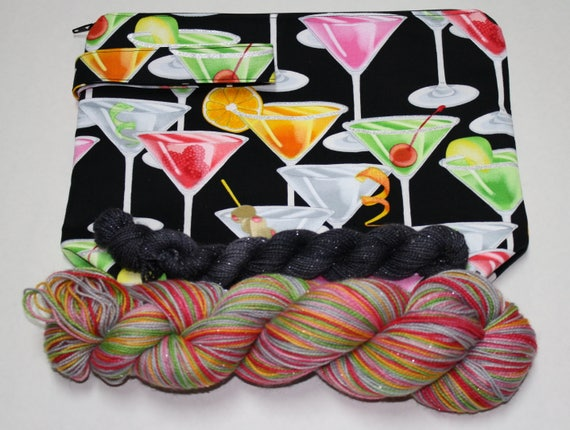 Midnight Martini Self Striping Hand Dyed Sock Yarn Kit with Project Bag - Sparkle Sock