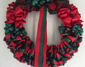 Wreath Christmas Wreath Ribbon Wreath 16 inch Ready to Ship Plaid Red Green