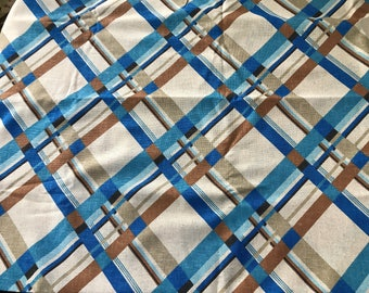3 Yards of Vintage Blue, Khaki and Brown Linen Like Fabric