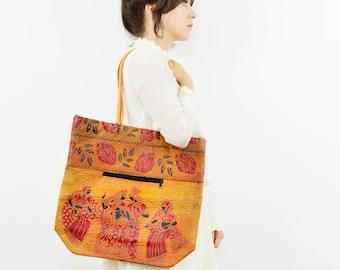 Vintage faux tooled leather shoulder bag, boho bag, hippie bag, Indian tooled bag