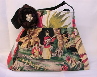 Oriental Garden- Asian South Pacific--Chinoiserie Bag-Messenger -Shoulder Bag- BagZGirl-