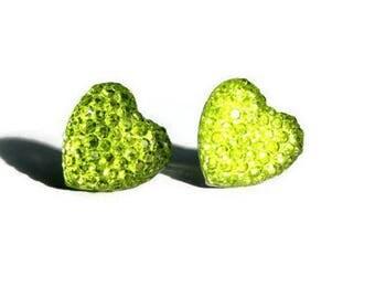 Lime Heart Earrings, Neon Green Crystal Studs, Yellow Green Sparkle Heart Jewelry