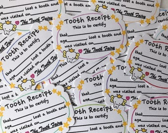 """Set of 20 """"Toothy Receipts"""" for tooth exchanges"""