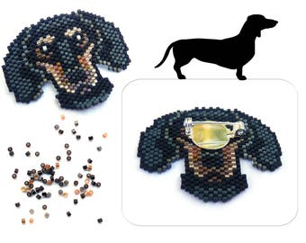 Dachshund Dog Delica Seed Beaded Pin Badger Doxy